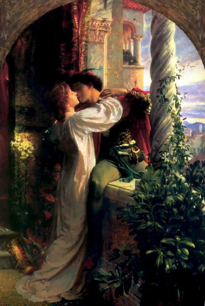 Pintura de 1884 de Frank Dicksee (1853 - 1928): la escena del balcón de Romeo y Julieta